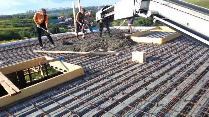 Армирование и бетонирование перекрытия