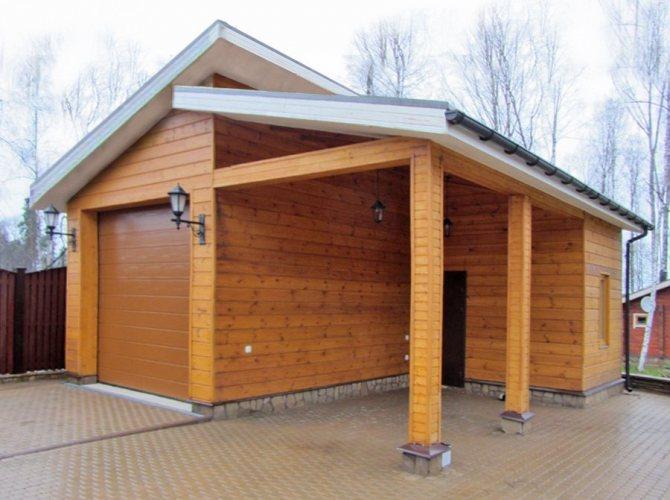 Двухскатный деревянный каркасный гараж