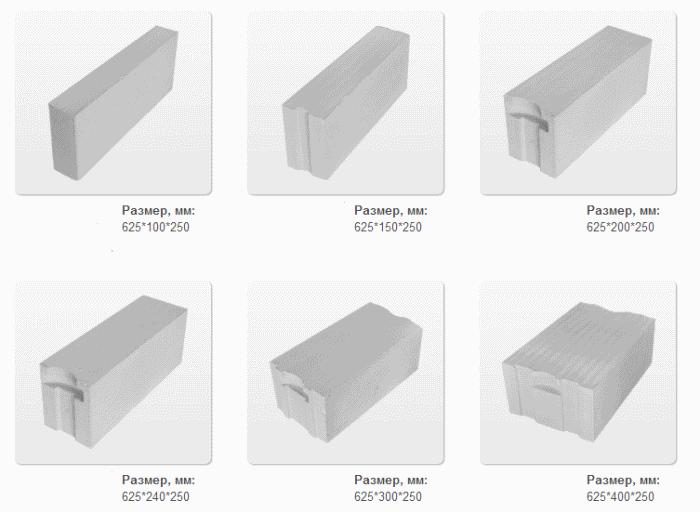 формы и размеры газобетона