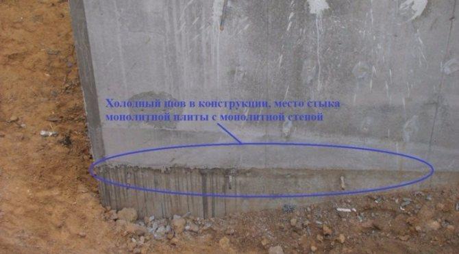 Холодный шов при заливке фундамента