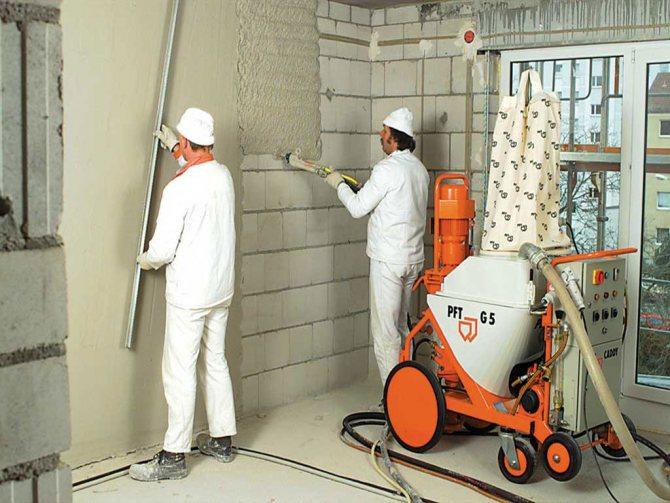 идея применения штукатурки газобетона в отделке комнаты