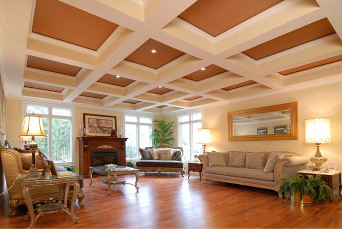 Интерьер классический с кессонным потолком