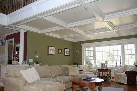 Как выглядят стильные кессонные потолки