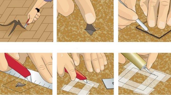 Как заделать дырку в линолеуме