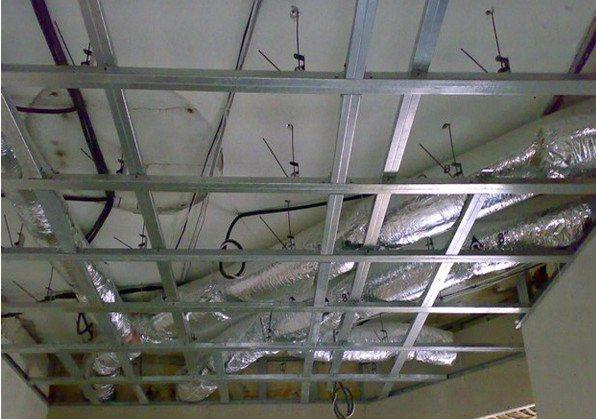Каркас под гипсокартон кессонного потолка