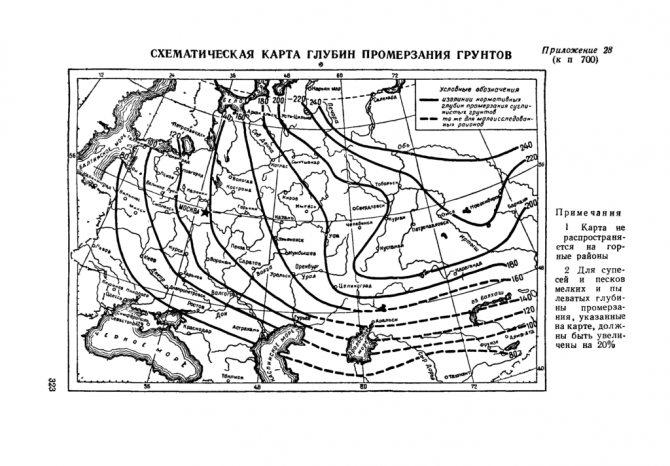 Карта промерзания грунтов, Европейская часть РФ, включая Казахстан и Украину