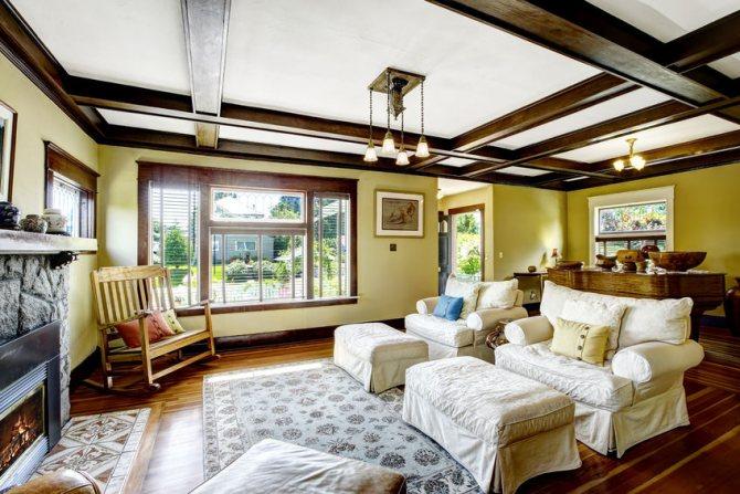 Кессонные потолки в оригинальном интерьере