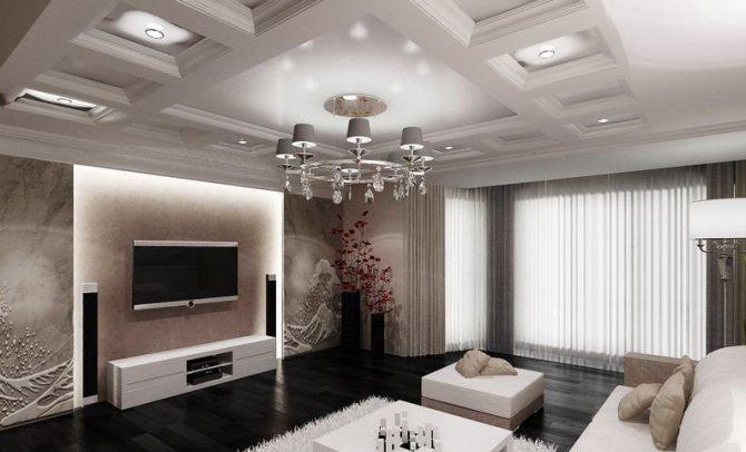 Кессонный потолок из гипсокартона в виде ячеек
