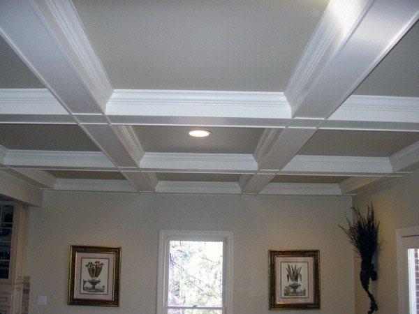Кессонный потолок из строительного гипсокартона