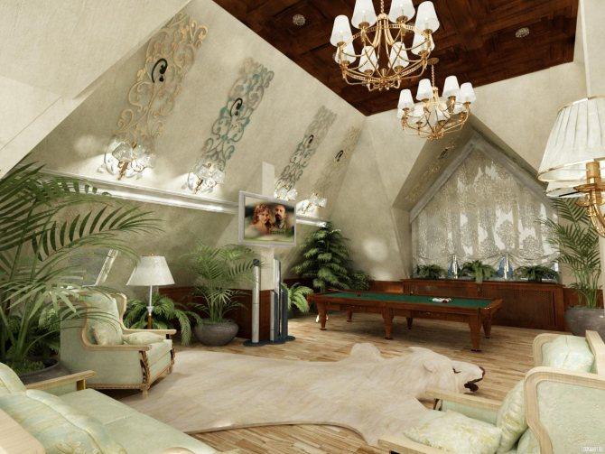 Кессонный потолок на мансарде