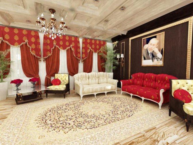 Кессонный потолок в роскошной гостиной
