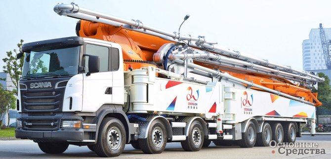 Китайская компания Zoomlion попала в 2012 г. в Книгу рекордов Гиннесса c «рекордной» бетононасосной установкой на 7-осном шасси V8, специально разработанном компанией Scania
