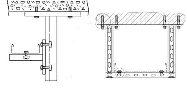 монтаж к потолочной поверхности при помощи кронштейна и стойки крепеж кабеленеущей системы при помощи монтажного профиля и стойки