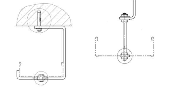 монтаж лотка к потолку на с-образном подвесе монтаж лотка к потолку с применением шпильки