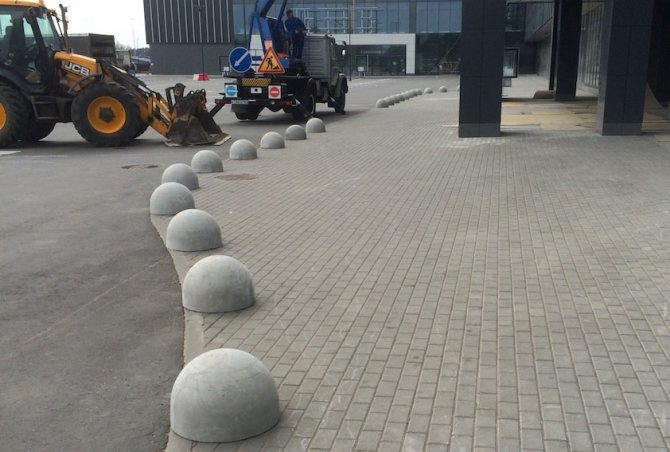монтаж полусфер из бетона