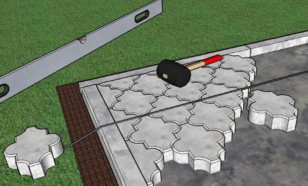 мощение тротуарной плитки на бетонное основание