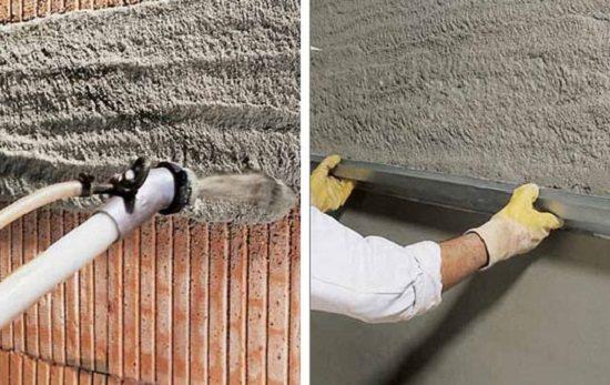 Нанесение цементно известковой штукатурки