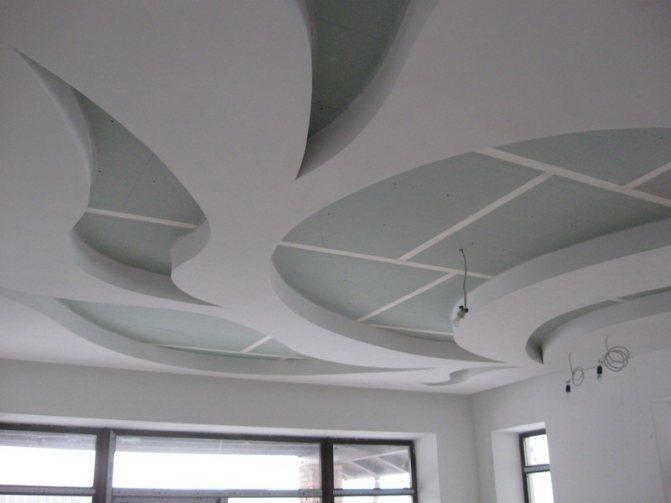 Обшитый гипсокартоном кессонный потолок
