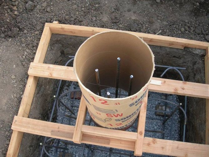Опалубка для столбчатой фундаментной конструкции