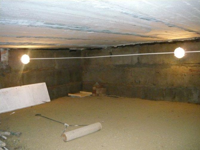 Освещение в гараже подвала