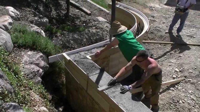 первые слои бетона