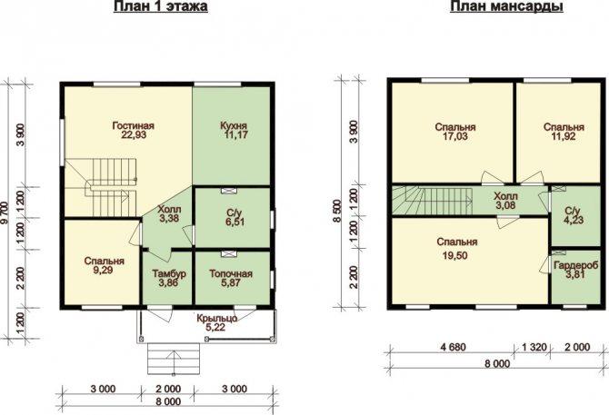 Планировка дома с мансардой из пеноблоков