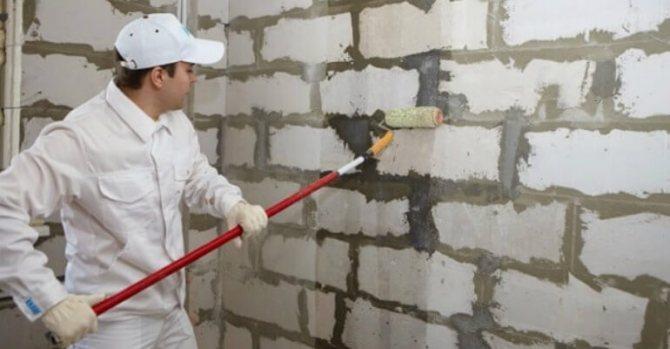 Подготовка газоблока внутри здания