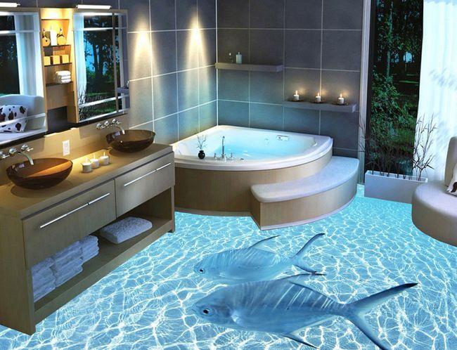 Полимерный 3d-пол в ванной