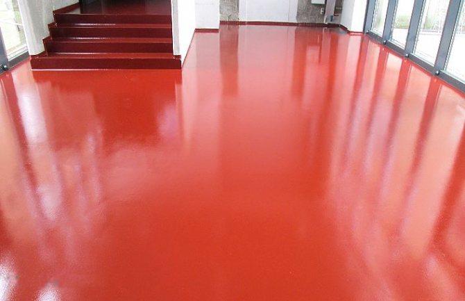 Пример окрашенного бетонного пола