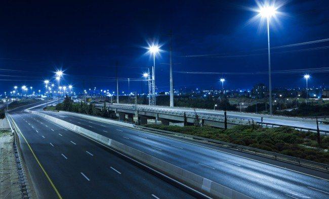 Пример освещения дорожного покрытия