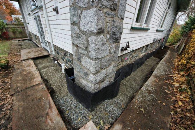 Пристенный дренаж необходим для отвода от фундамента грунтовой, дождевой и талой воды