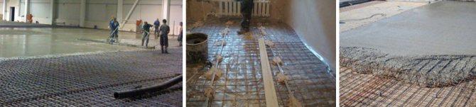 Процесс заливки пола бетоном