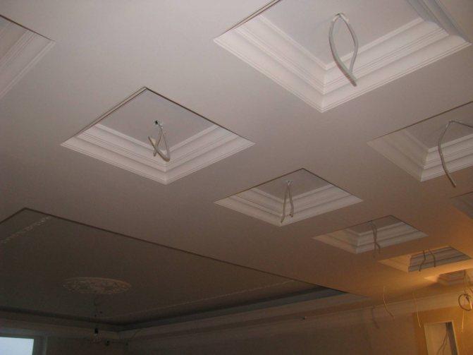 Проводка под светильники на кессонном потолке