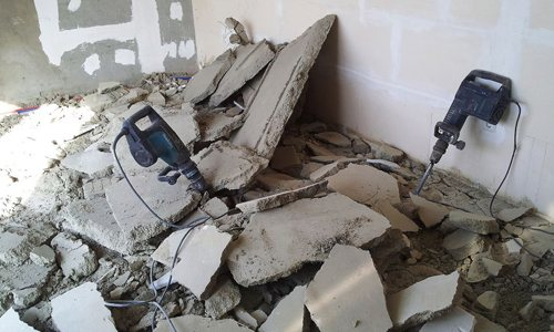 Разрушение бетона перфораторами
