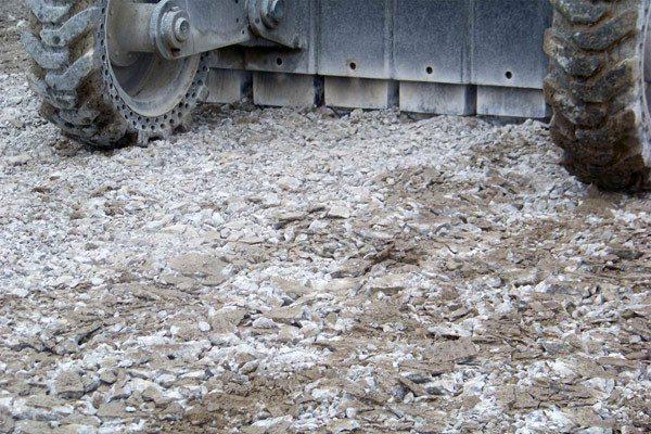 Разрушение бетонных оснований дороггидромолотом