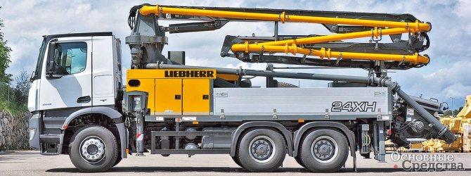 Самая легкая двухосная модель АБН Liebherr 24-M4-XH поднимает бетон на высоту 23,7 м, а горизонтально перекачивает бетон на расстояние 19,7 м