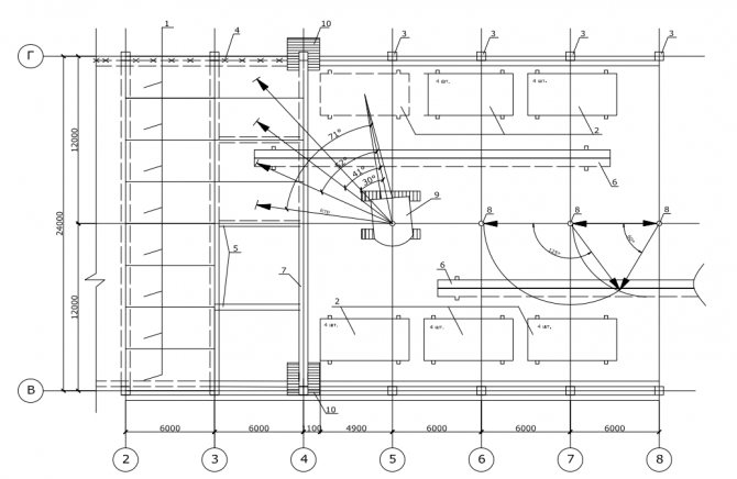 схема монтажа конструкций покрытия и плит покрытия