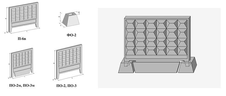 составляющие забора из бетонных плит