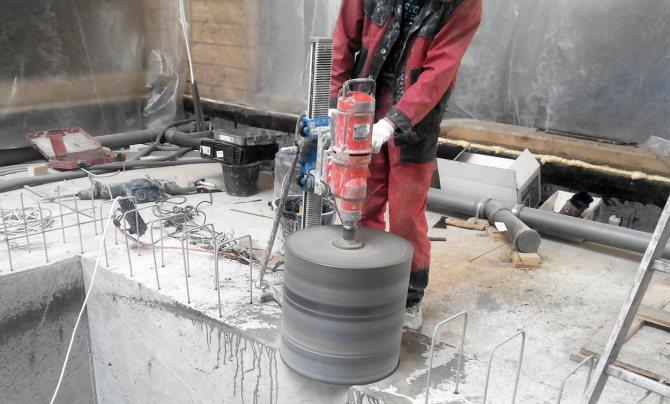 Сверление больших отверстий в бетоне