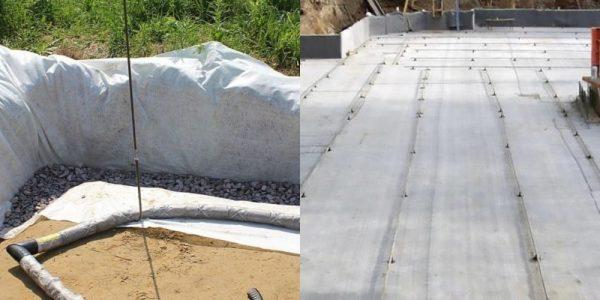Укладка геотекстиля при строительстве фундамента