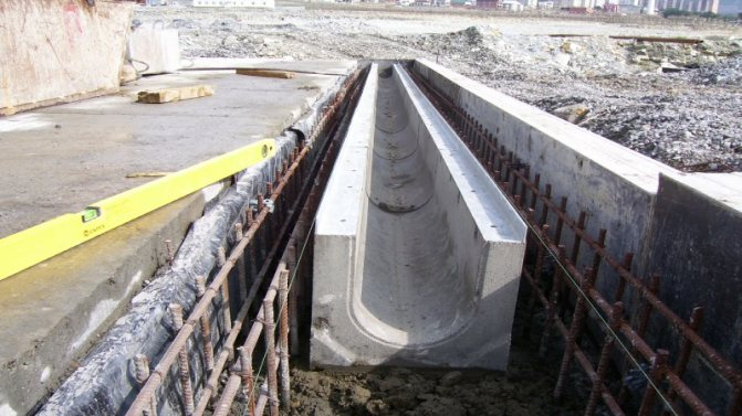 Установка бетонных лотков водоотводных