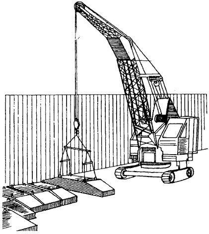 Установка грузоподъемного крана для монтажа блоков-подушек