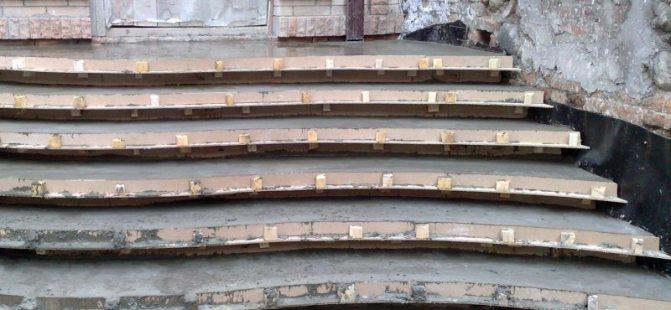 Устройство бетонной крыльца со ступенями сложно формы
