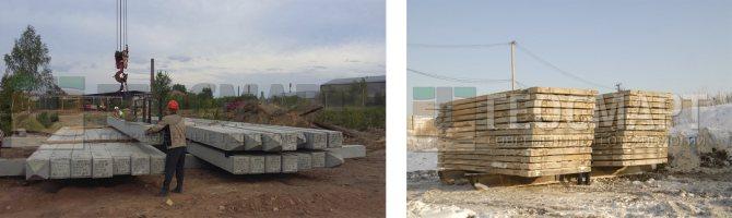 Варианты нагружения грузовой платформы для статических испытаний свай слева: с помощью свай, справа: с помощью дорожных плит
