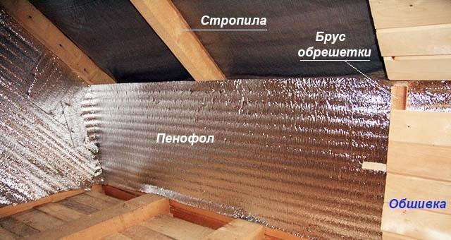 Внутренняя теплоизоляция кровли фольгированным материалом