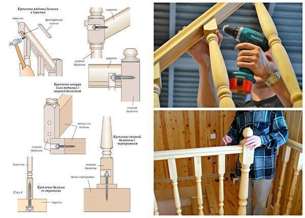 Закреплять балясины на деревянной лестницы можно с помощью саморезов