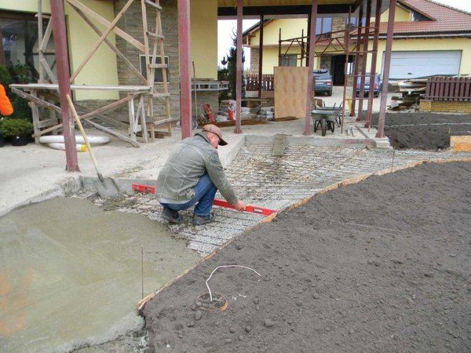 Заливка тротуаров бетоном м100