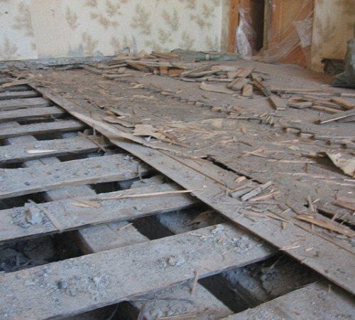 Замена деревянного пола на бетонный в квартире