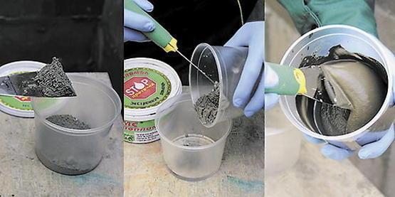 Замешивается раствор гидропломбы в течение полуминуты, после чего сразу наносится на участок с течью